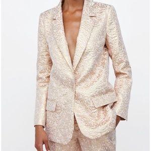 Zara Blazer Suit Jacket Jacquard Metallic Rose